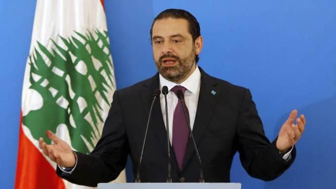 El primer ministro libanés, Saad Hariri, durante una rueda de prensa celebrada este lunes en Beirut.