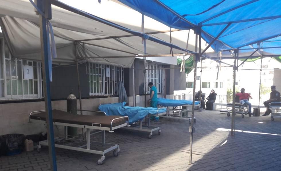 Zona de cribado del hospital de Shifa, en la capital de la Franja.