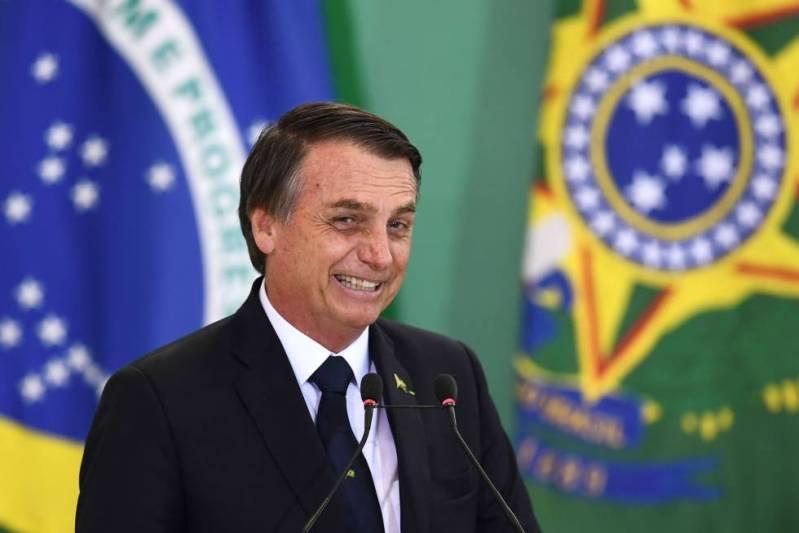 Bolsonaro en la toma de posesión de los directores de los bancos públicos este lunes.
