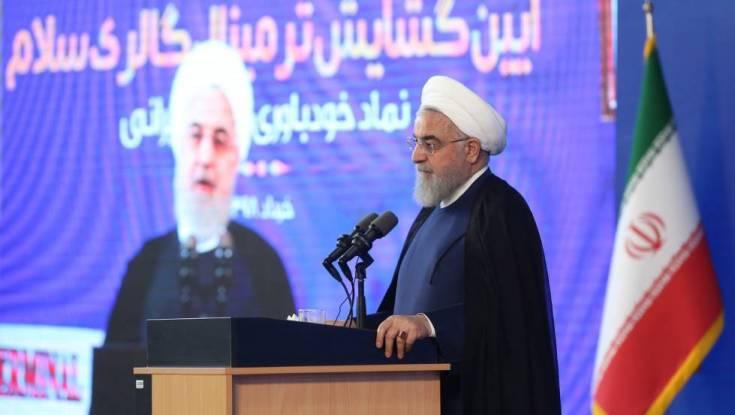 Hasan Rohani, durante la inauguración de la nueva terminal del aeropuerto Imán Jomeini en Teherán (Irán), este martes.