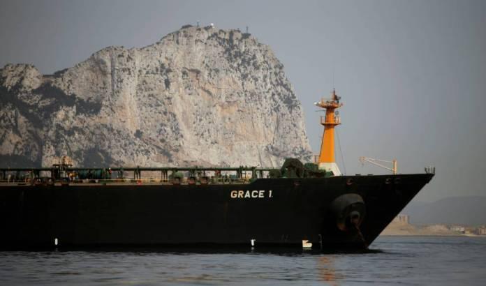 El carguero 'Grace 1' frente a Gibraltar.