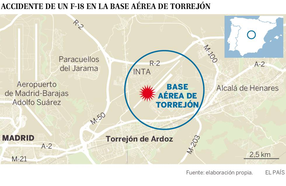 Un fallo de motor, causa del accidente del F-18 en Torrejón