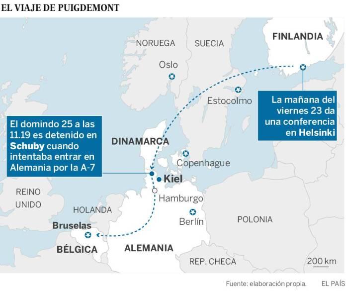 Puigdemont, detenido en Alemania tras entrar en coche desde Dinamarca