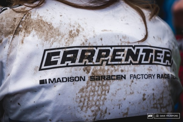 The dirt on the back of the jersey tells the tale of the day for Manon Carpenter who took a scary slam off the final jump, just meters from the finish arena.