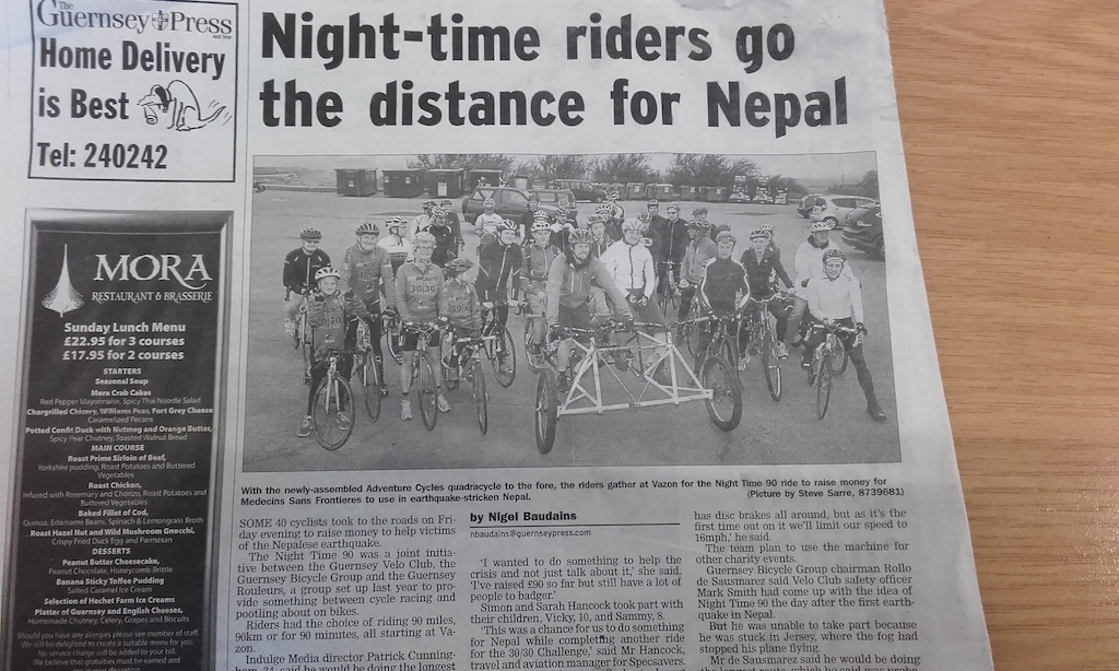 Adventure cycles quadra cycle in the Guernsey Press