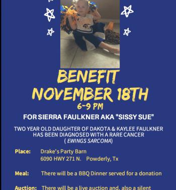 Benefit for Sierra Faulkner set for November 18