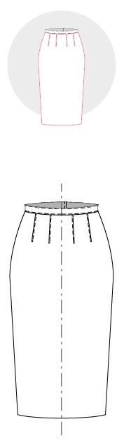 Технический рисунок юбки-карандаш