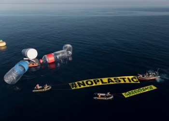 "Greenpeace's flagship, the Rainbow Warrior, has been surrounded by giant single-use plastic items in Mediterranean waters. The action seeks to make visible the invisible, and to denounce the problem of plastic pollution in the oceans, especially in the Mediterranean Sea.    Activists placed ten giant objects representing some of the most frequently found items on beaches: two bottles of 12 meters, two glasses of 6 meters and giant straws and bottle caps. A banner of 60 m2, reads #NoPlastic.   Approximately 40% of the demand of plastic in Europe is for plastic packaging, most of it single-use. Also plastic packaging is the most common waste littered in the environment round the world. This action is part of the international campaign ""Less plastic, more Mediterranean"" in which the flagship of Greenpeace, Rainbow Warrior, is touring the Mediterranean to denounce the huge presence of plastic in the sea and to demand governments in the region to take urgent measures to stop this serious problem."