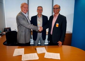 Paulo Rovina, gerente geral de Libra, Fernando Borges, gerente executivo de Libra e Nelson Leite, chairman da TechnipFMC (Foto: Marcos de Paula)