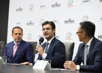 Divulgação da nova tecnologia Híbrida Flex eletricidade com etanol da Toyota, no Palácio dos Bandeirantes