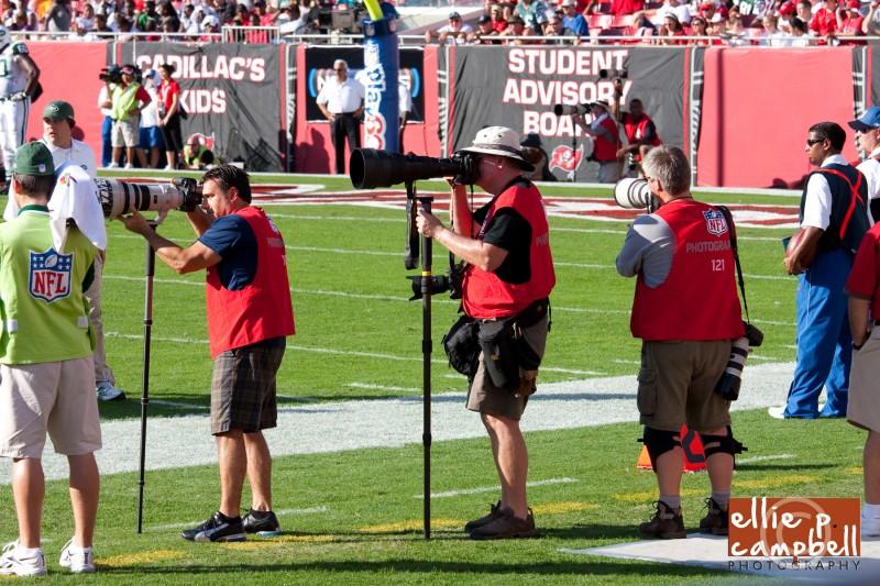 Photographers at Bucs-Jets Game at Raymond James Stadium