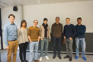 EPFL Chapter of SIAM Committee 2015/2016 with Invited Speakers. From left Pavol Gurican, Ana Susnjara, Dr. Joseph Dureau, Olivier Corradi, Prof. Amin Shokrollahi, Allan Svejstrup Nielsen, Matthieu Martin