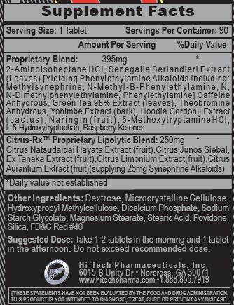 Lipodrene Xtreme V2 Supplement Facts