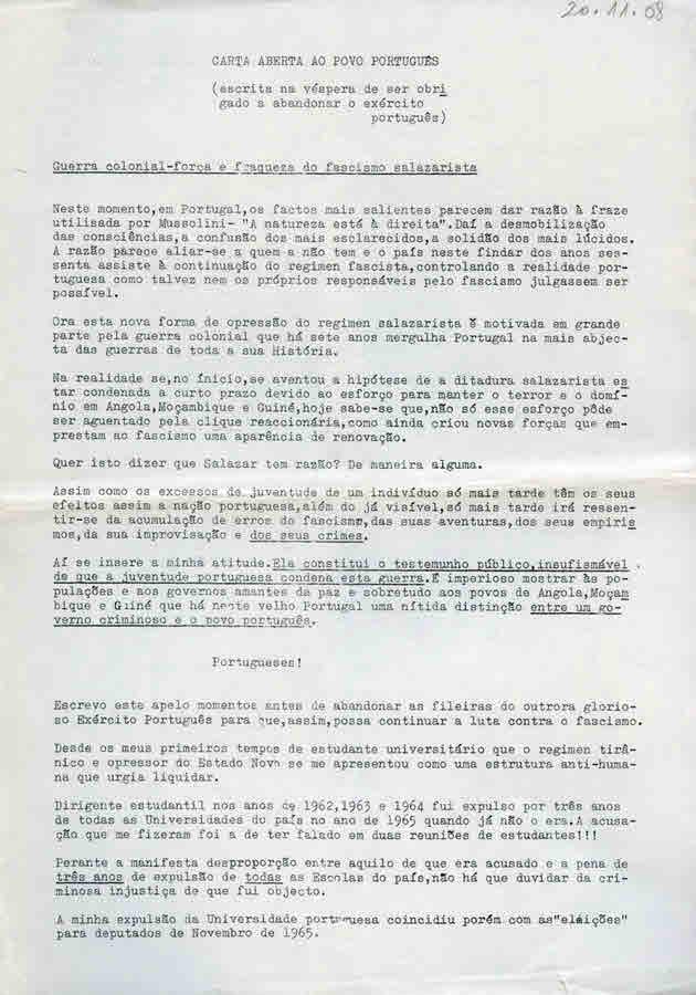 4afb581540c6a JOSÉ MEDEIROS FERREIRA – CARTA ABERTA AO POVO PORTUGUÊS (1968) – EPHEMERA –  Biblioteca e arquivo de José Pacheco Pereira