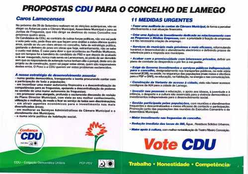 ELEIÇÕES AUTÁRQUICAS DE 2013 – LAMEGO – CDU – EPHEMERA – Biblioteca ... a6e7aaf014