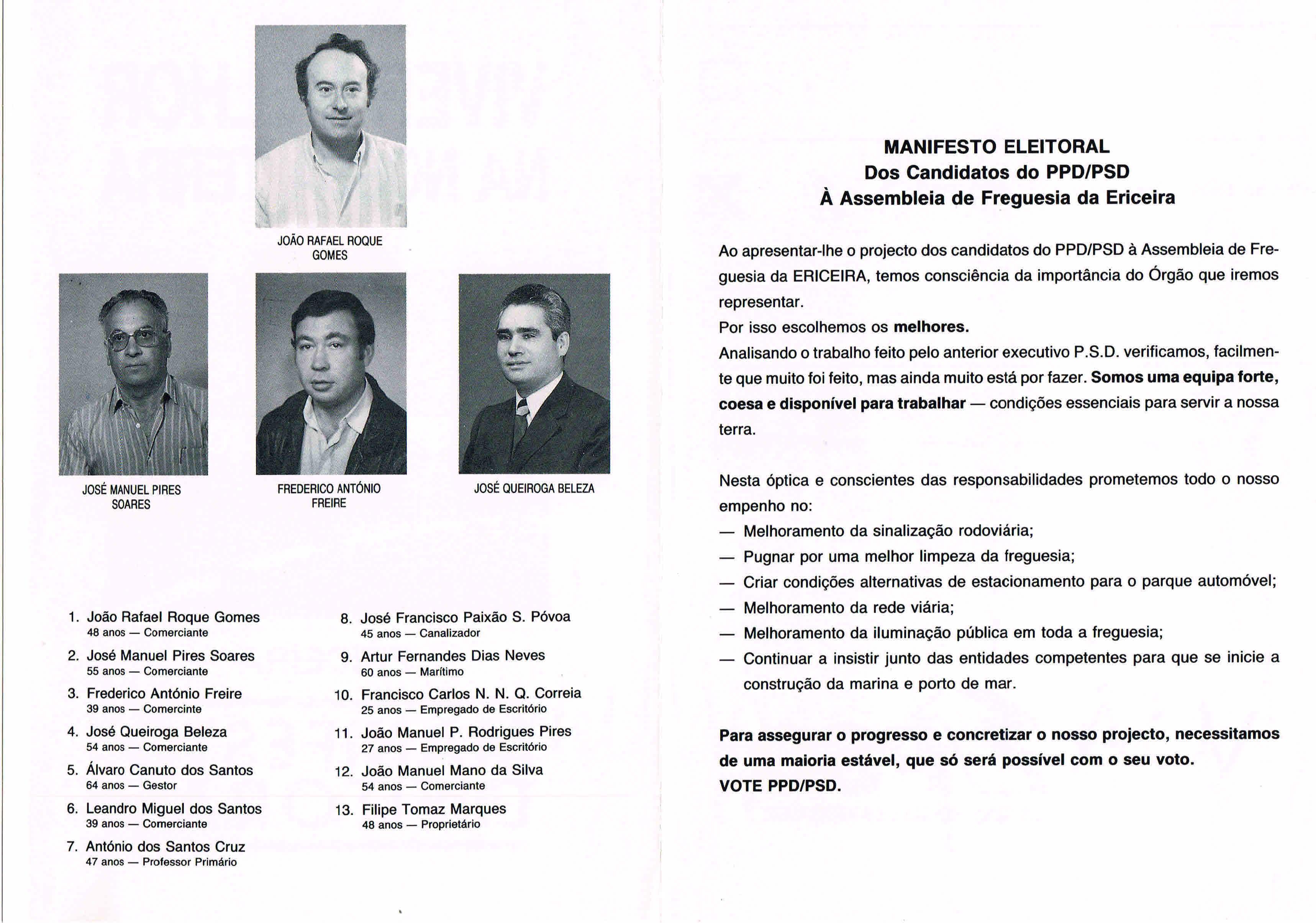 ELEIÇÕES AUTÁRQUICAS DE 1989 – MAFRA – ERICEIRA – PSD ... 70196a30c0