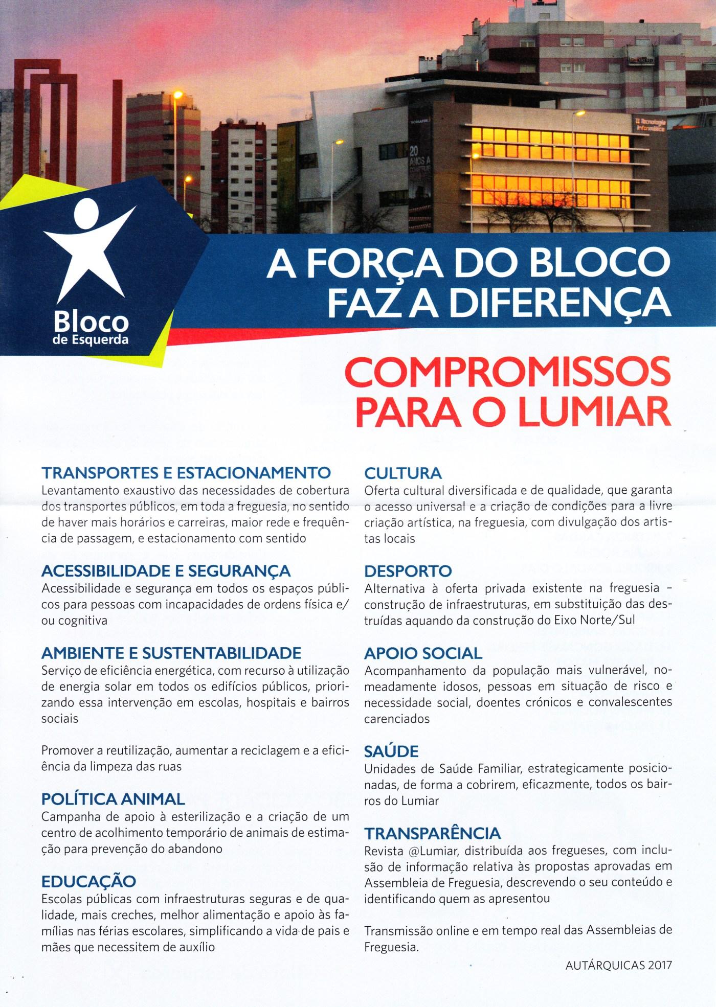 ELEIÇÕES AUTÁRQUICAS DE 2017 – LISBOA – FREGUESIA DE LUMIAR – BE – EPHEMERA  – Biblioteca e arquivo de José Pacheco Pereira aac9abc210251