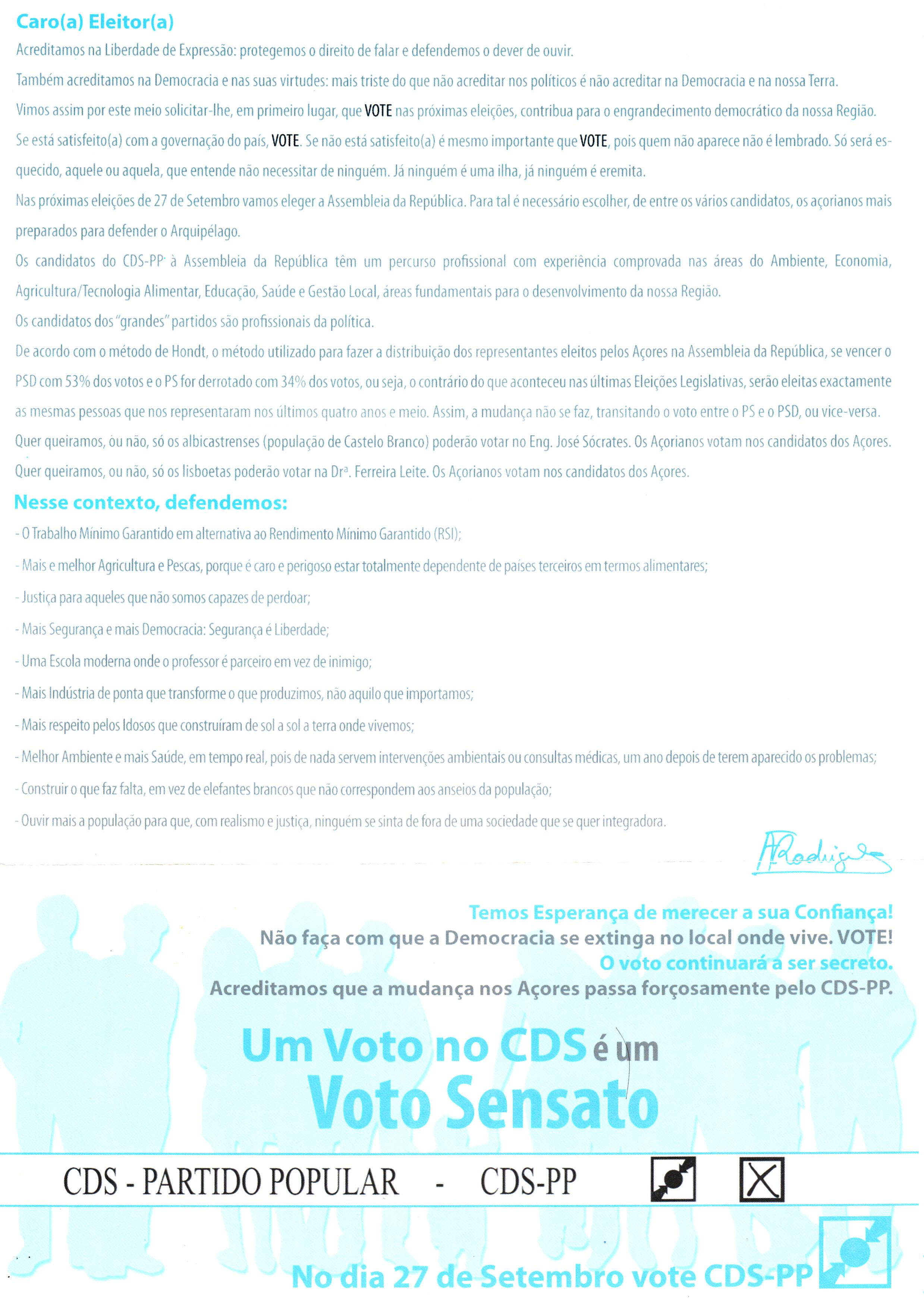 ELEIÇÕES LEGISLATIVAS DE 2009 – AÇORES – CDS – EPHEMERA ... da4894d71e