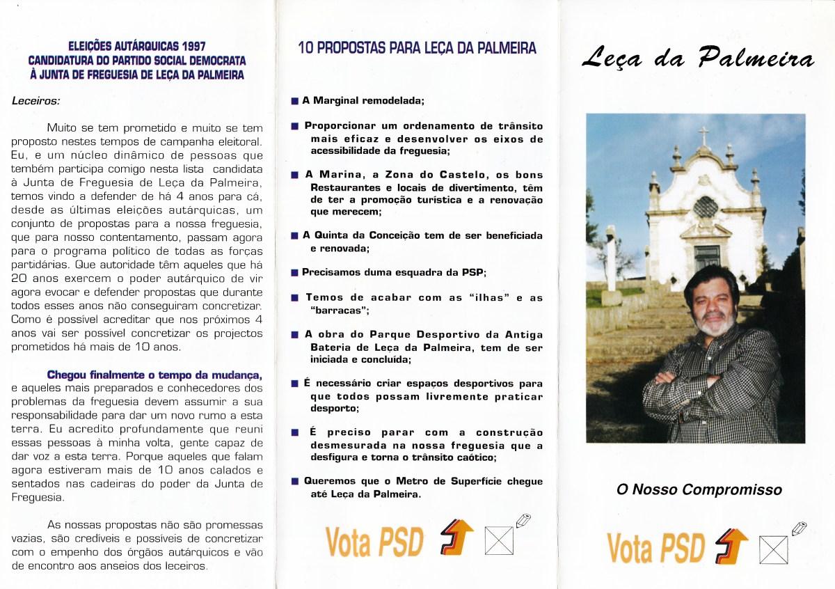 ELEIÇÕES AUTÁRQUICAS DE 1993 – MATOSINHOS – FREGUESIA DE LEÇA DA PALMEIRA –  PSD – EPHEMERA – Biblioteca e arquivo de José Pacheco Pereira f76295e36879a