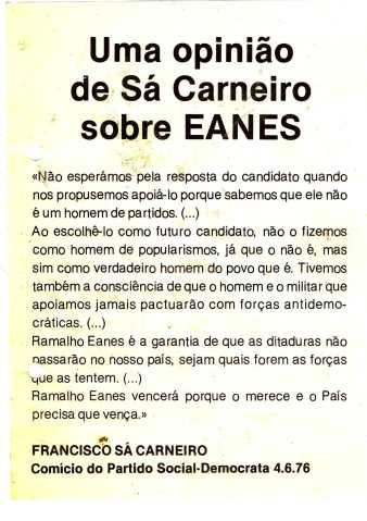 UMA OPINAO DE SA CARNEIRO SOBRE EANES