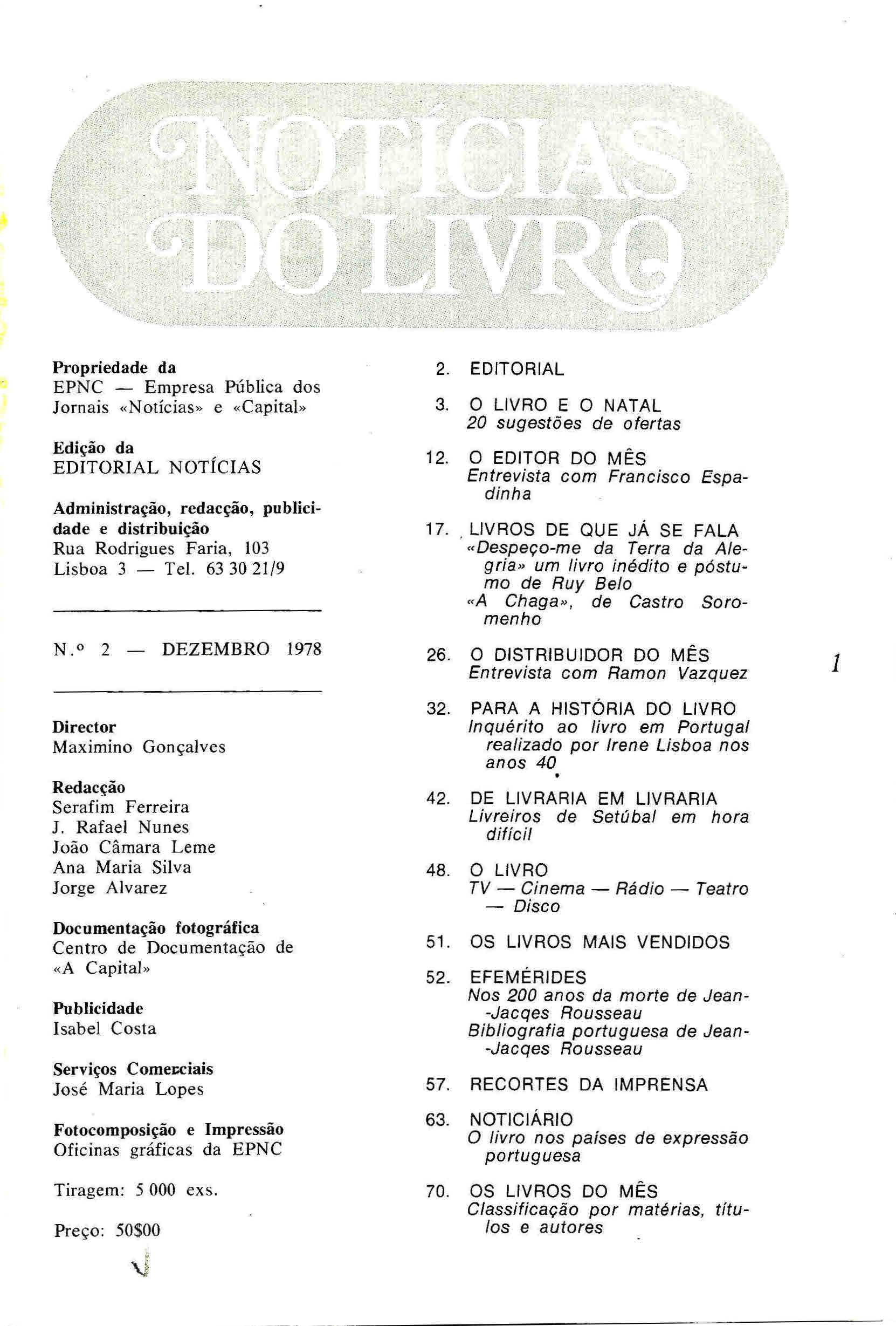 Notícias do Livro Dezembro 1978 n 2 índice