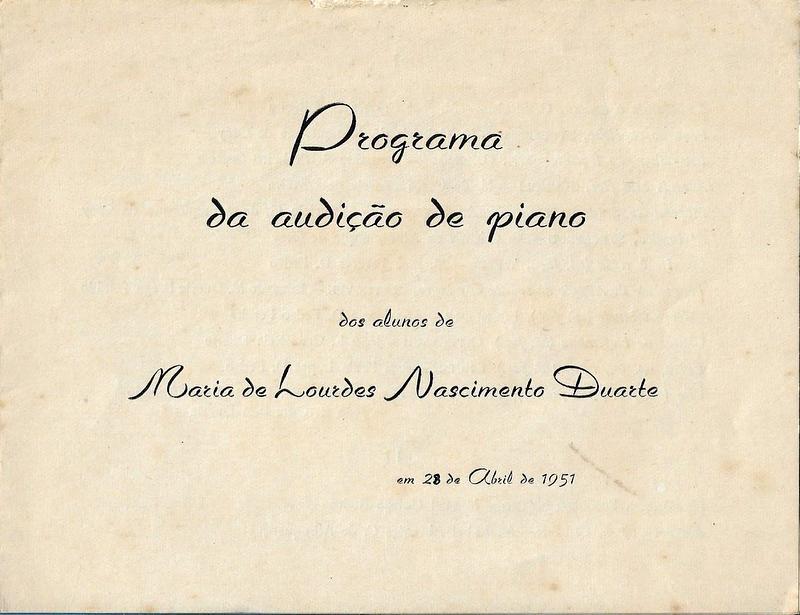PROGRAMA DA AUDIÇÃO DE PIANO DOS ALUNOS DE MARIA DE LOURDES NASCIMENTO DUARTE – 28 DE ABRIL DE 1951 1