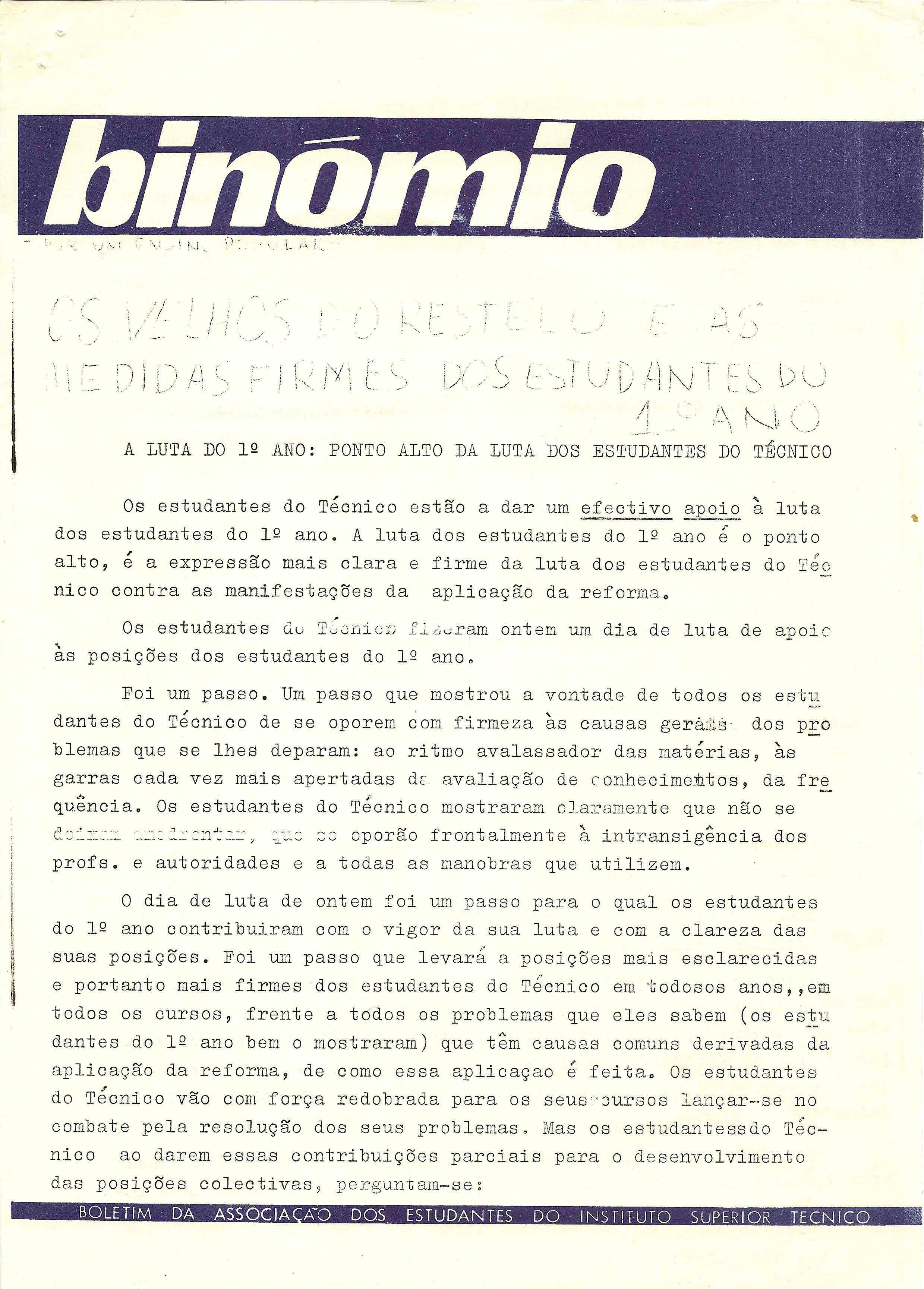 Copy of Binómio – A luta do 1º ano