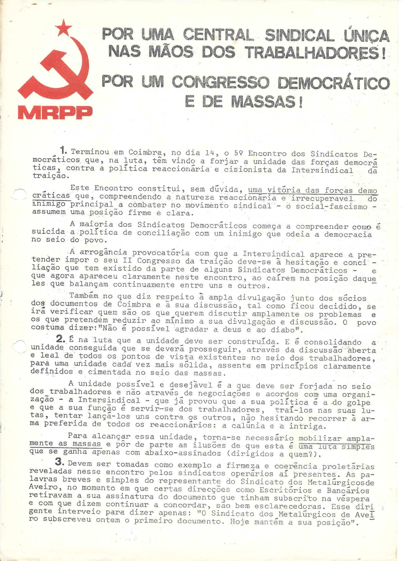 mrpp opor uma central sindical 1976