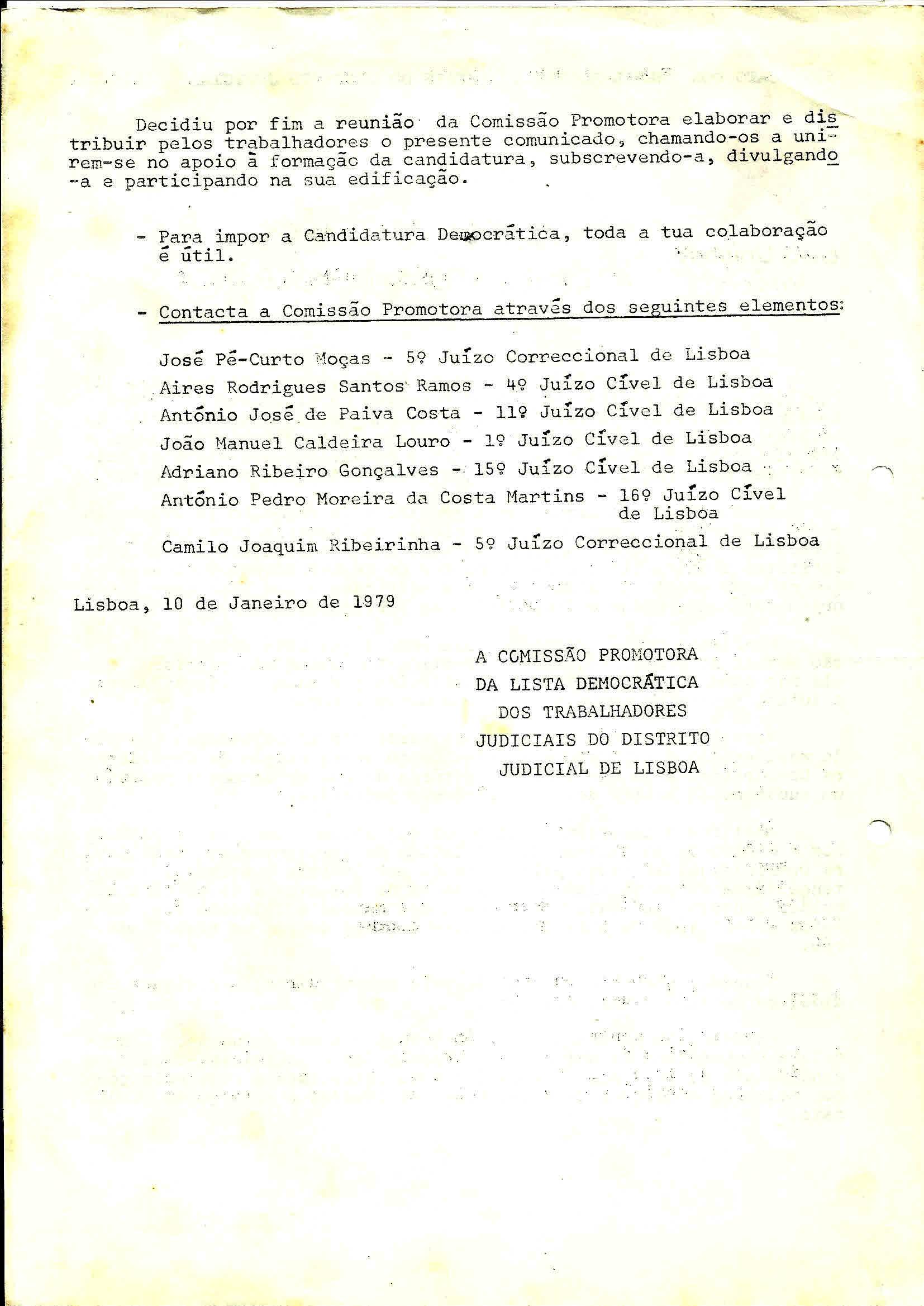 2 Sind Trab Judiciais Apoio Cand Democrática Janeiro 1979 2