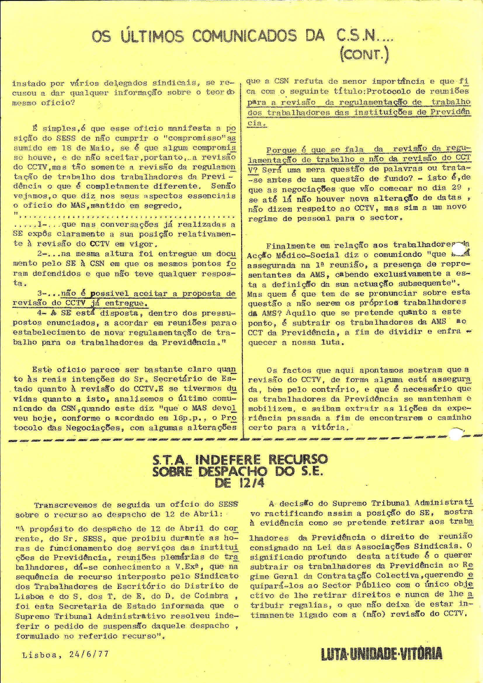 2 Sind Trab Previdência Jornal de Luta n 2 Junho 1977 2