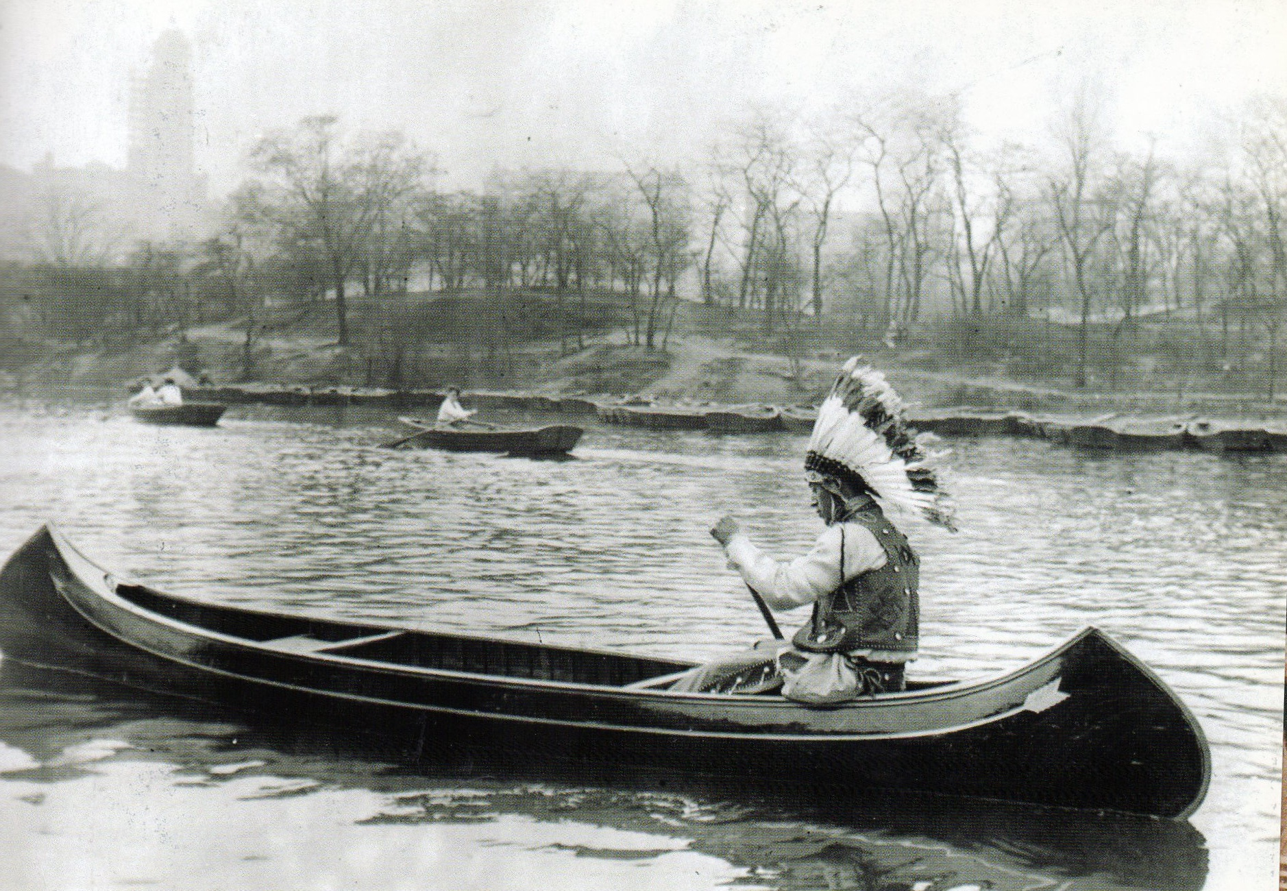 An Iroquois Indian Canoes In Central Park