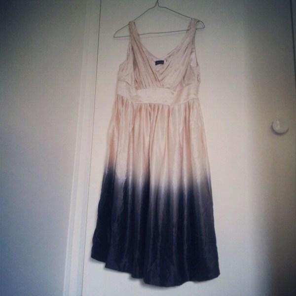 silk ombre cream black dress thrifted