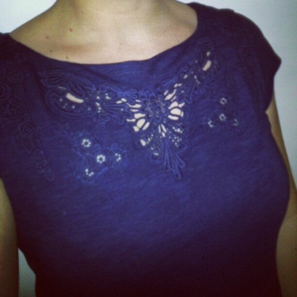 navy boatneck top with lace thrifted