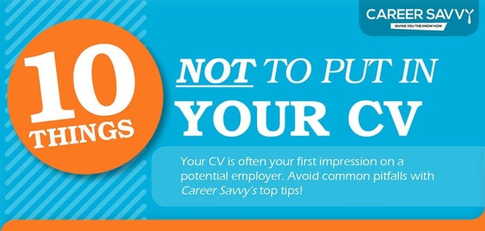 Resume Infographic: 10 Things Not To Put In Your Resume