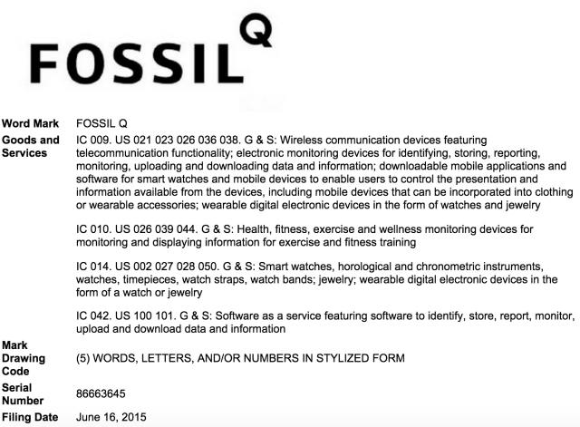 Fossil Q Trademark Filing USPTO