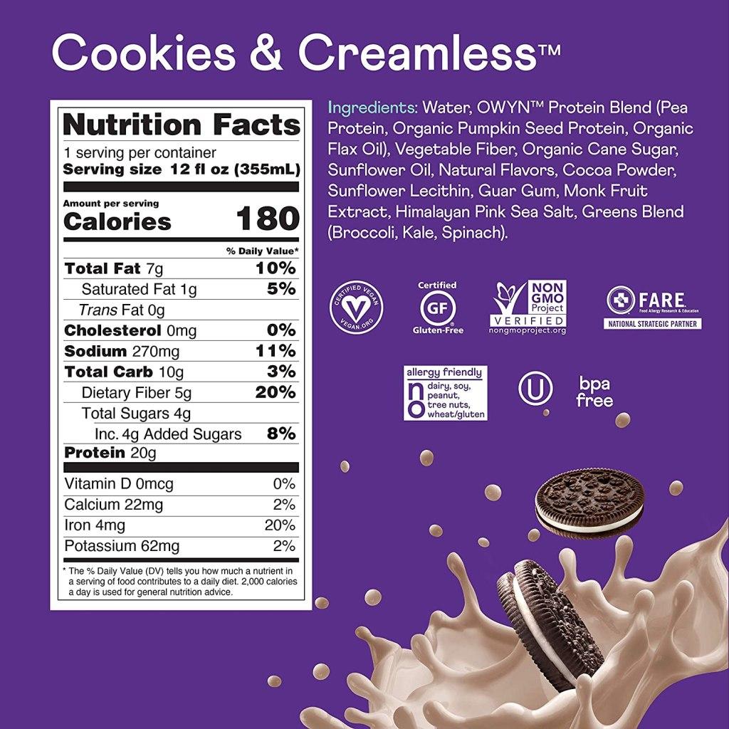 what's in OWYN protein? is OWYN protein vegan? does OWYN protein have caffeine?