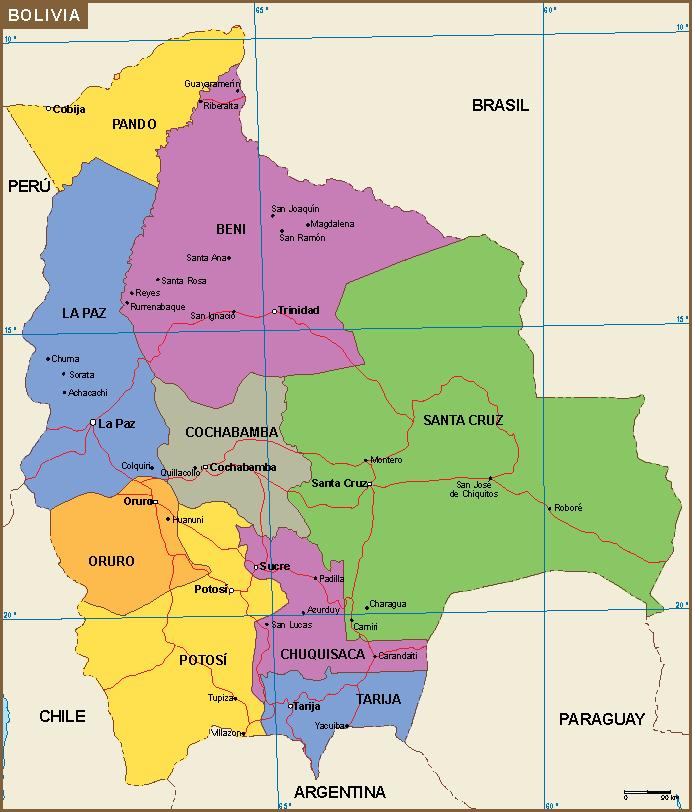Bolivia y su división política.