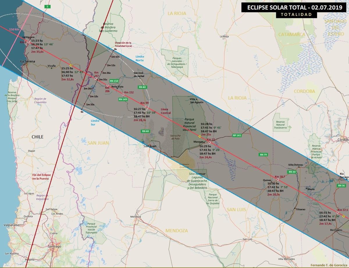 En qué ciudades será visible el Eclipse Total de Sol - Argentina y Chile - Zona de oscuridad
