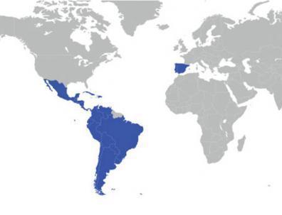 Mapa de Iberamérica y la Península Ibérica.