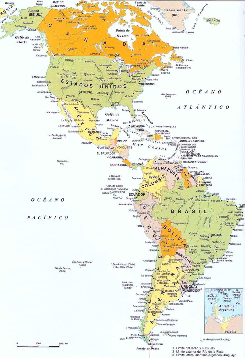 Mapa Países de América