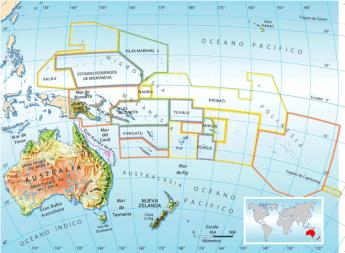 Mapa físico del continente Oceánico.