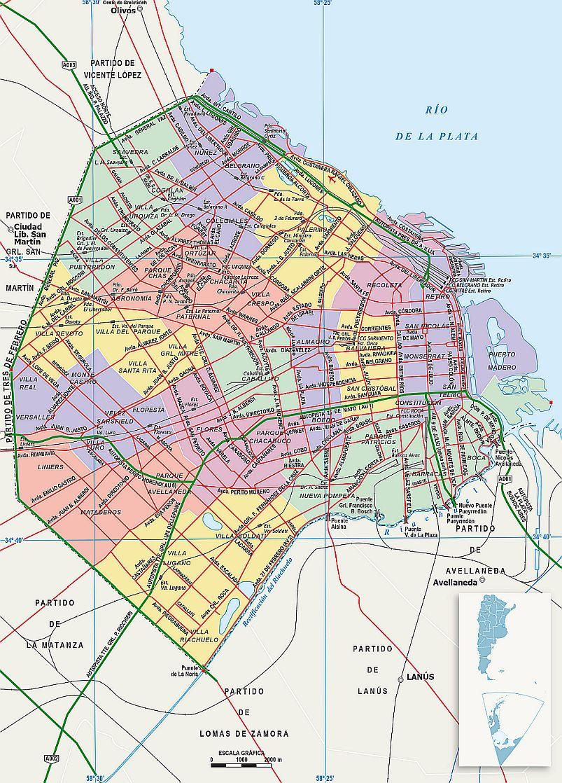 Mapa Ciudad Buenos Aires Argentina