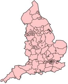 Mapa político de Inglaterra