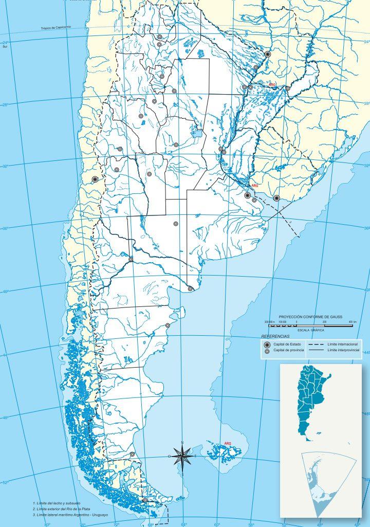 Mapa politico provincias republica argentina