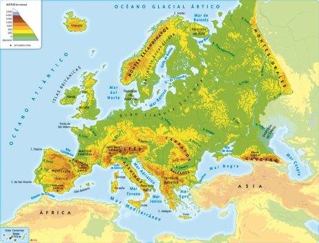 Relieve del continente europeo.