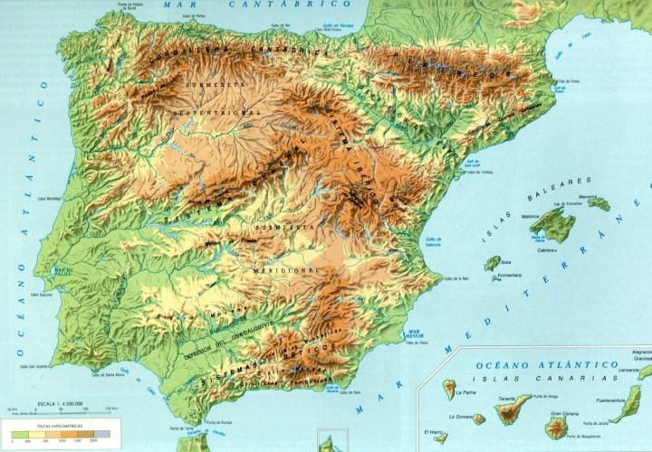 Mapa físico de la península Ibérica.