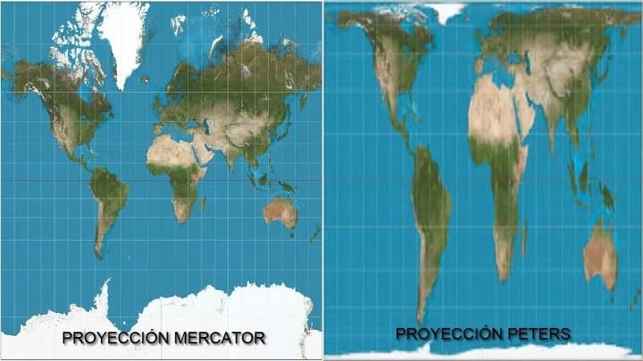 Diferentes proyecciones de Mapamundi: Mercator-Peters.