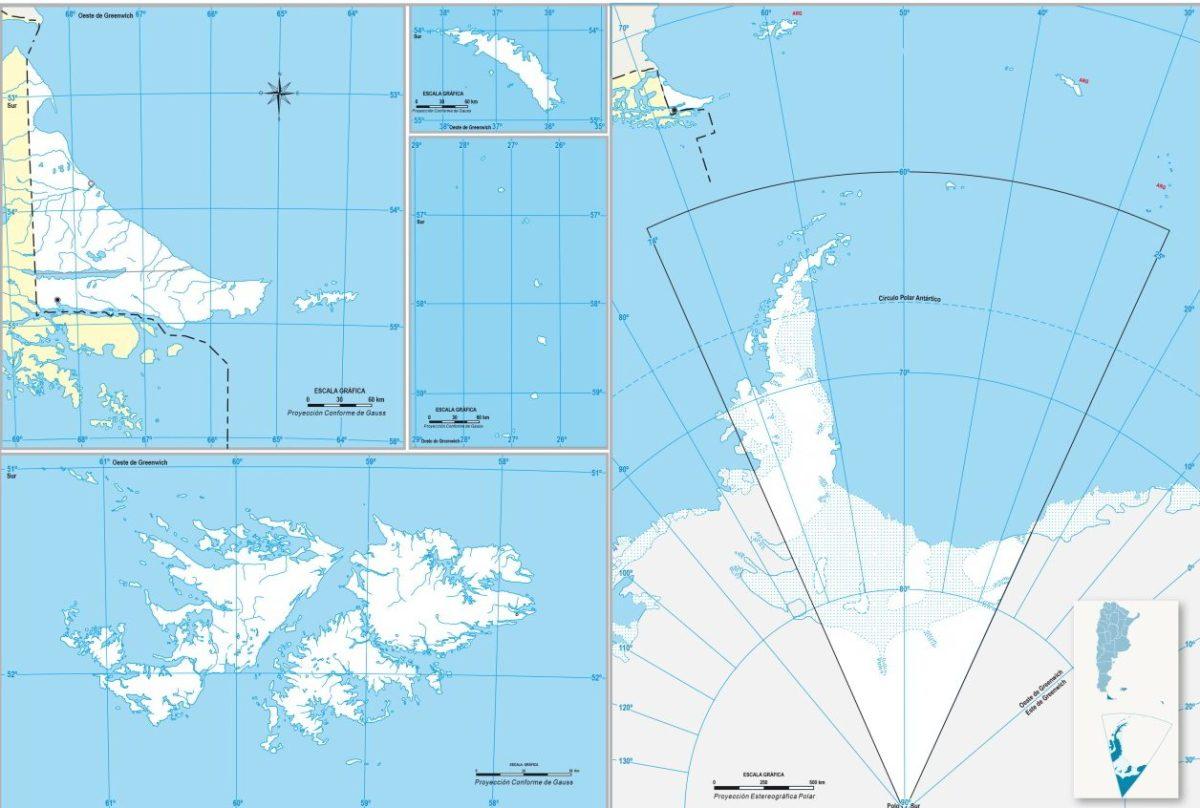 Mapa del Instituto Geográfico Nacional, que muestra los territorios que conforman la provincia de Tierra del Fuego, Antártida e Islas del Atlántico Sur.