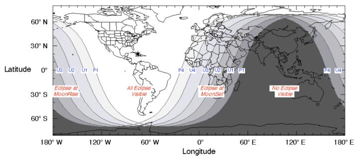 mapa zonas visibilidad eclipse luna enero 2019