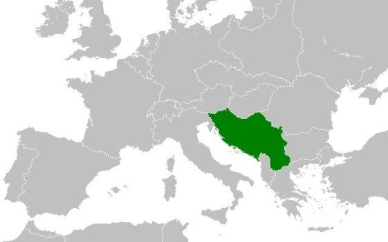 Mapa de la ubicación de Yugoslavia, en Europa.